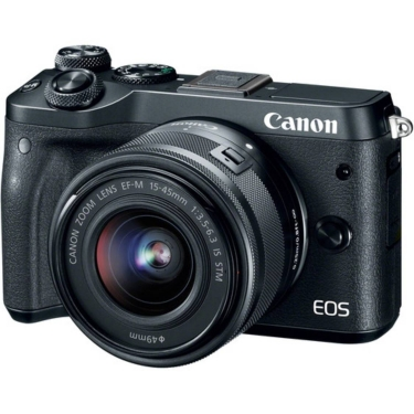 Canon EOS M6 Camera with 15-45mm Lens (black) - Open Box