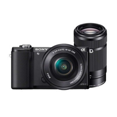 Sony A5000 Camera (black) with 16-50mm, 55-210mm, LSC-U21 Case and Lens Cloth - Open Box