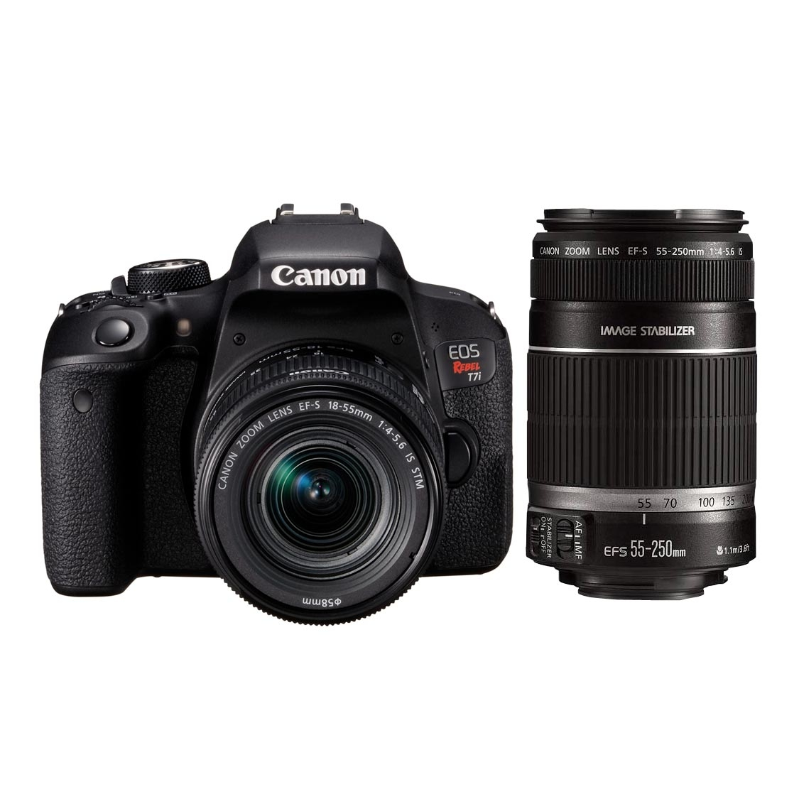 Canon Rebel T7i DSLR with 18-55mm IS STM and 55-250mm IS STM Lenses