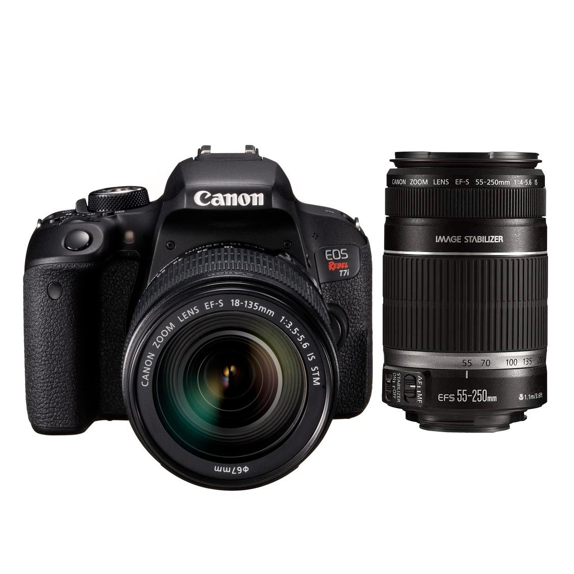 Canon Rebel T7i DSLR with 18-135mm IS STM and 55-250mm IS STM Lenses
