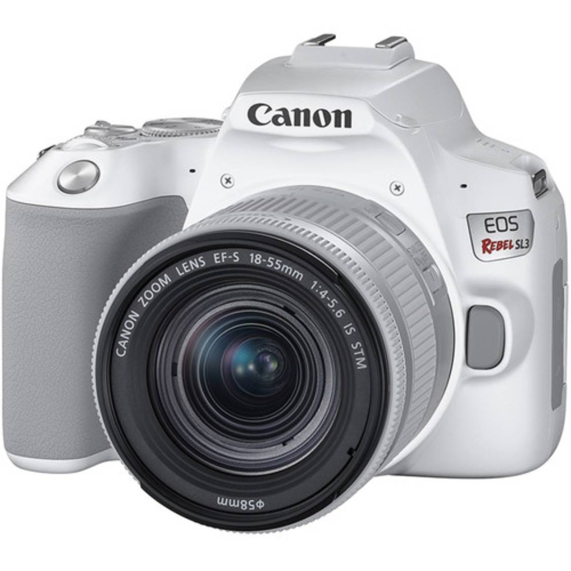 Canon Rebel SL3 with 18-55mm IS STM and 55-250mm STM Lenses (White)