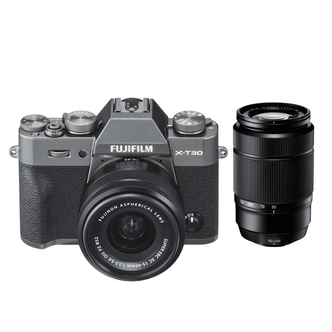 Fujifilm X-T30 Camera (charcoal) with 15-45mm and 50-230mm Lenses
