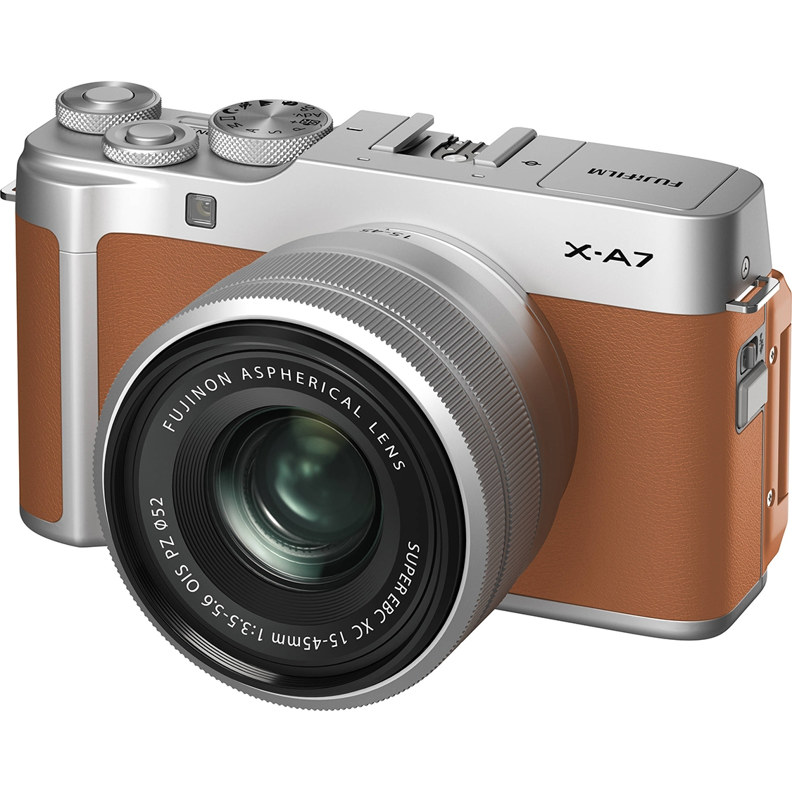 Fujifilm X-A7 Camera (camel) with 15-45mnm PZ Lens