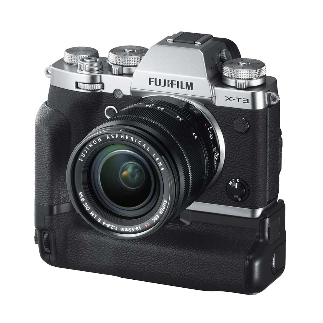 Fuji X-T3 Camera (silver) with 18-55mm Lens and VG-XT3 Grip