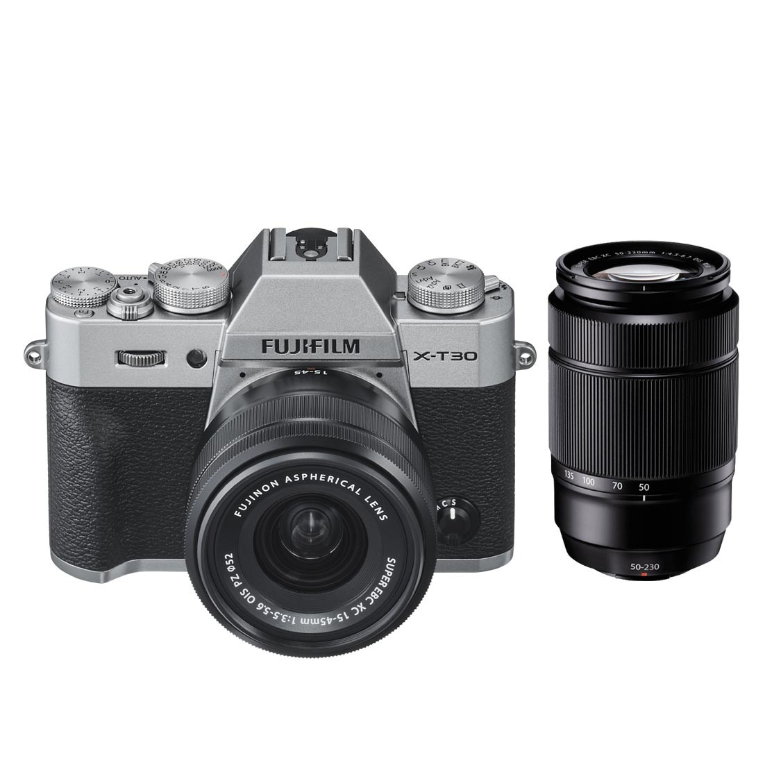 Fujifilm X-T30 Camera (silver) with 15-45mm and 50-230mm Lenses