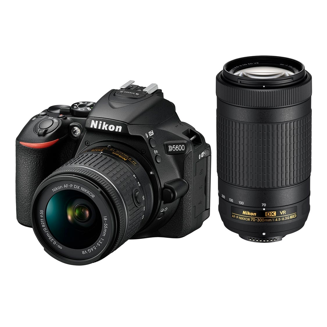 Nikon D5600 DSLR with 18-55mm and DX 70-300mm VR Lenses