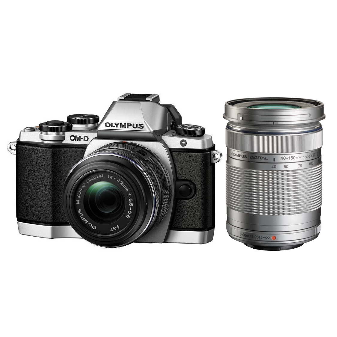 Olympus E-M10 Mark II (silver) with 14-42mm II R and 40-150mm Lenses