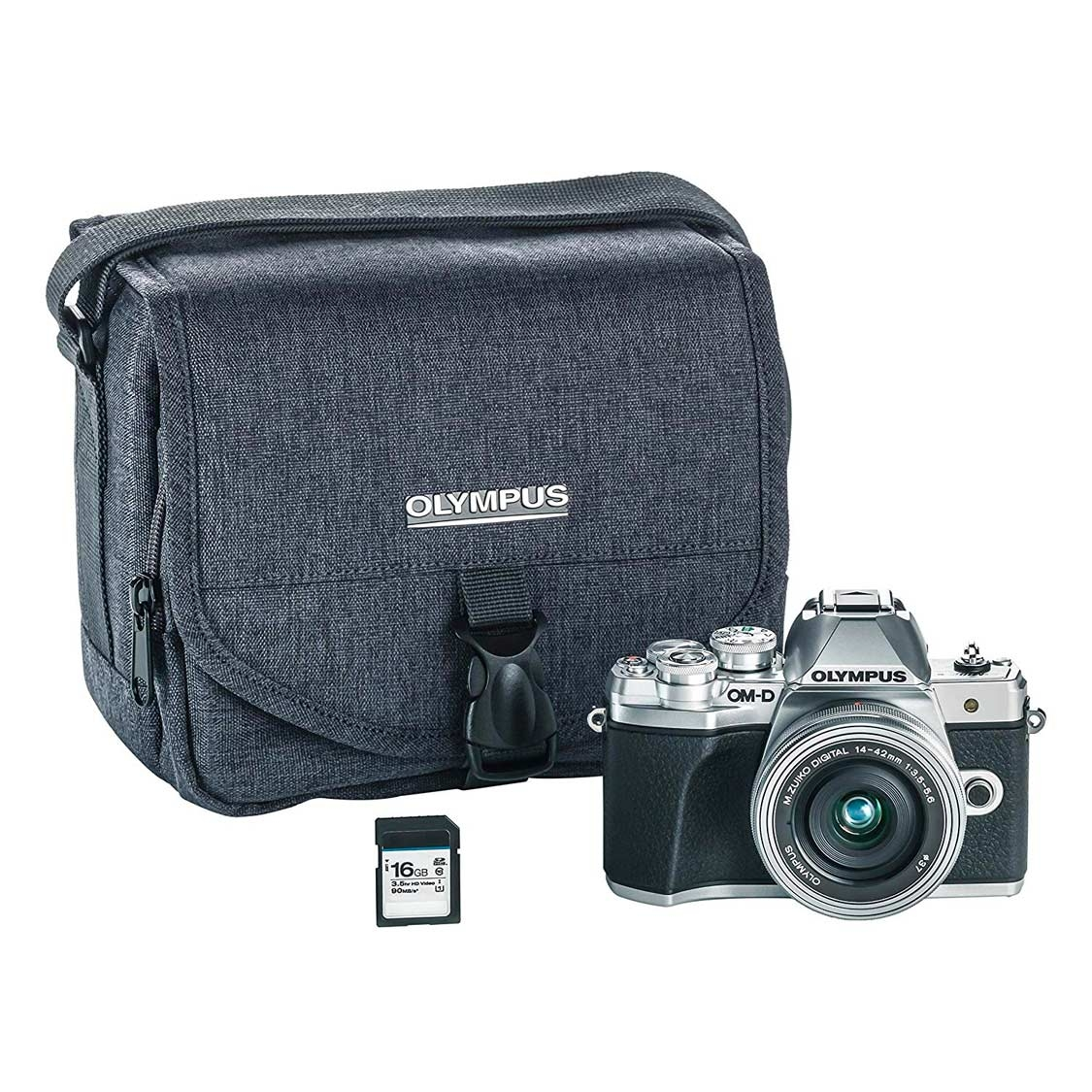 Olympus E-M10 Mark III (silver) with 14-42mm EZ Lens with Bag & 16GB SD Card