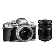 Olympus E-M10 Mark III Camera (silver) with 14-42mm EZ and 40-150mm Lenses