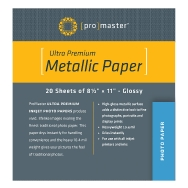 Promaster 8.5x11 Silver Metallic Paper (20 sheets)